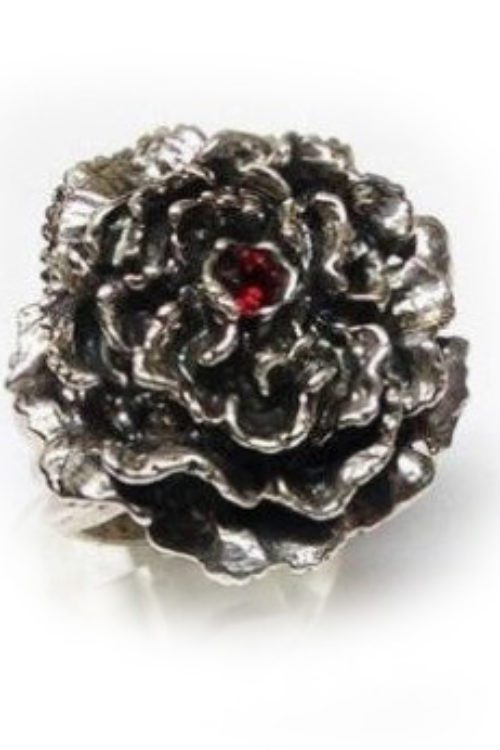 January Birth Flower Carnation Silver Ring