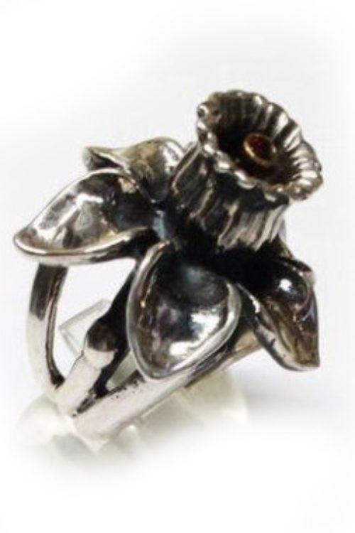 March Birth Flower Daffodil Silver Ring