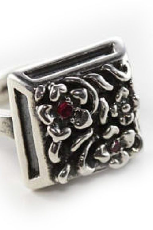 Square Flower Sterling Silver Ring