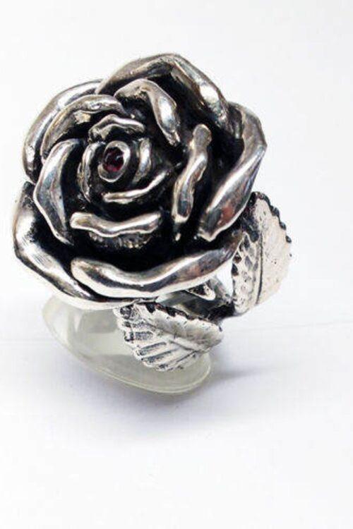 June Birth Flower Rose Silver Ring V1