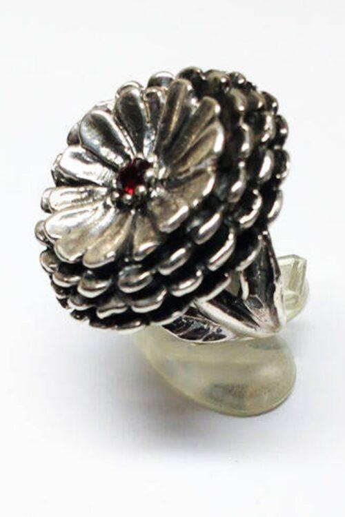 October Birth Flower Calendula Silver Ring with Birthstone