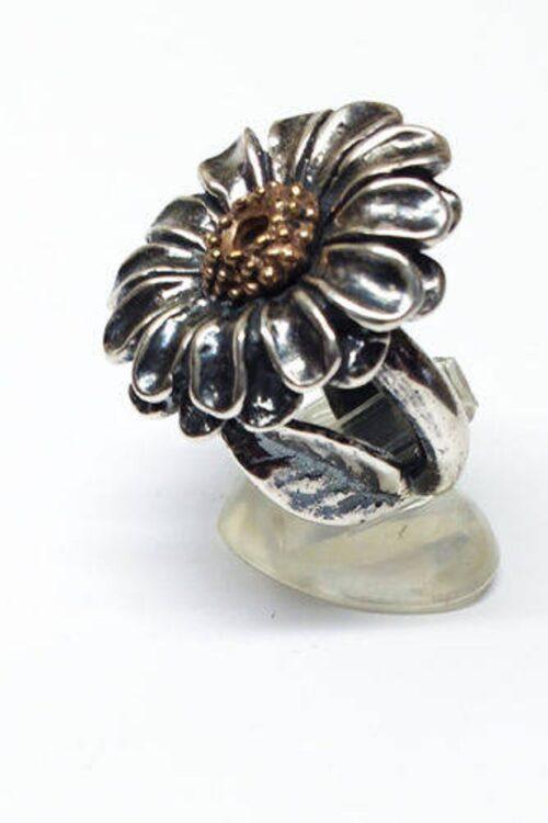 September Birth Flower Aster Silver Ring