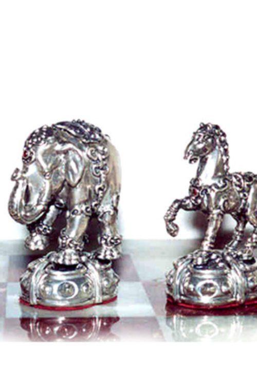 "Tigrani ""Animal Kingdom"" Sterling Silver Chess set"