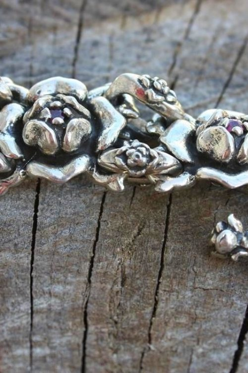 Imperial Rose Silver Link Bracelet with Rubies