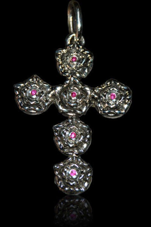 Woman's Rose Ruby Cross