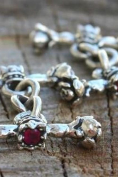 Rose and Crown Cufflinks with Ruby Stones