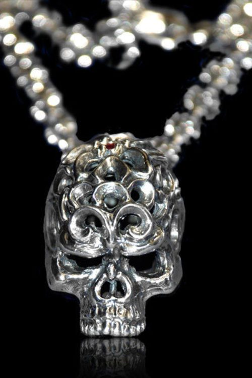 Rose Skull Pendant With Ruby And Rose Bud Chain