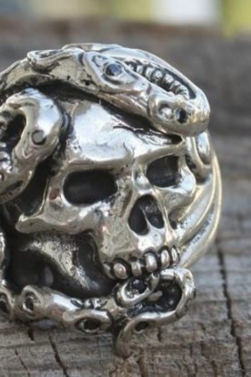 Skull & Snake Ring with Rubies