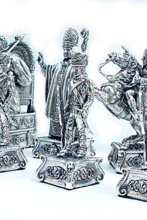 """French Historical Sterling Silver Chess Set """"Napoleon"""""""
