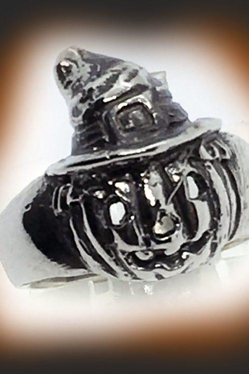 Halloween Witch Pumpkin Silver Ring