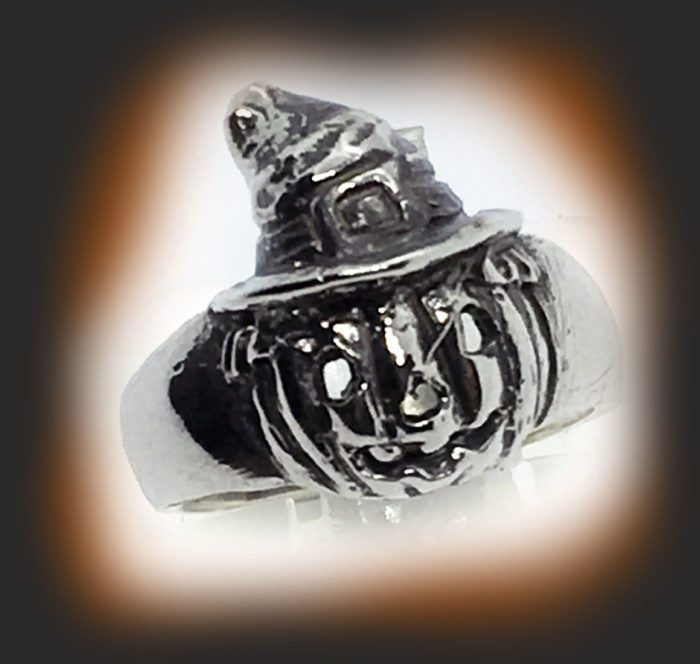 Halloween Witch Pumpkin Silver Ring