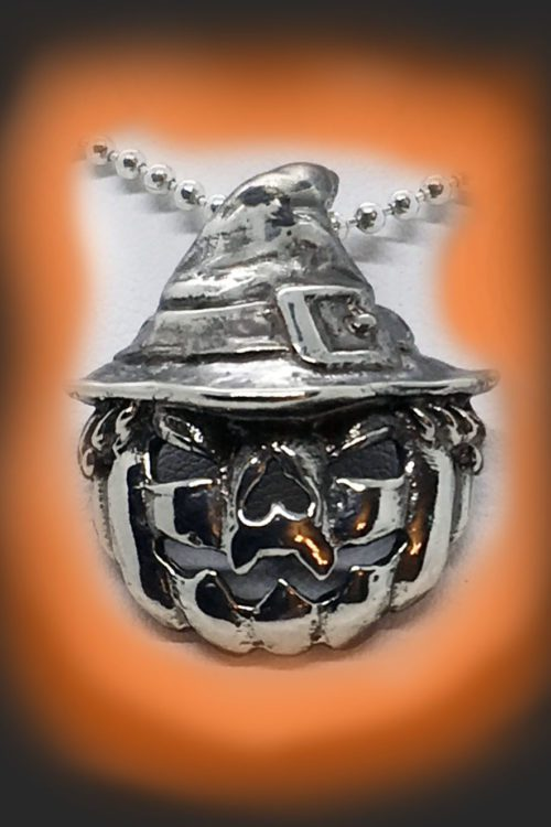 Halloween Pumpkin Witch Sterling Silver Pendant