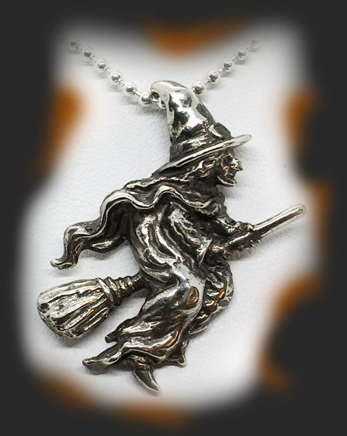 Halloween Flying Witch Sterling Silver Pendant