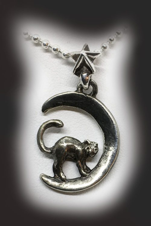 Halloween Cat Sterling Silver Pendant