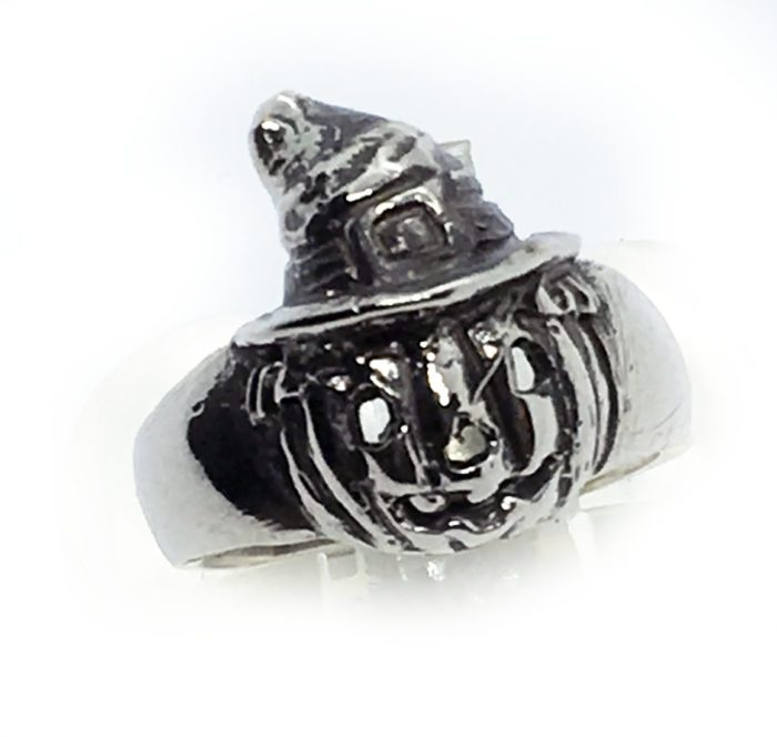 Halloween Witch Pumpkin Silver Ring 3