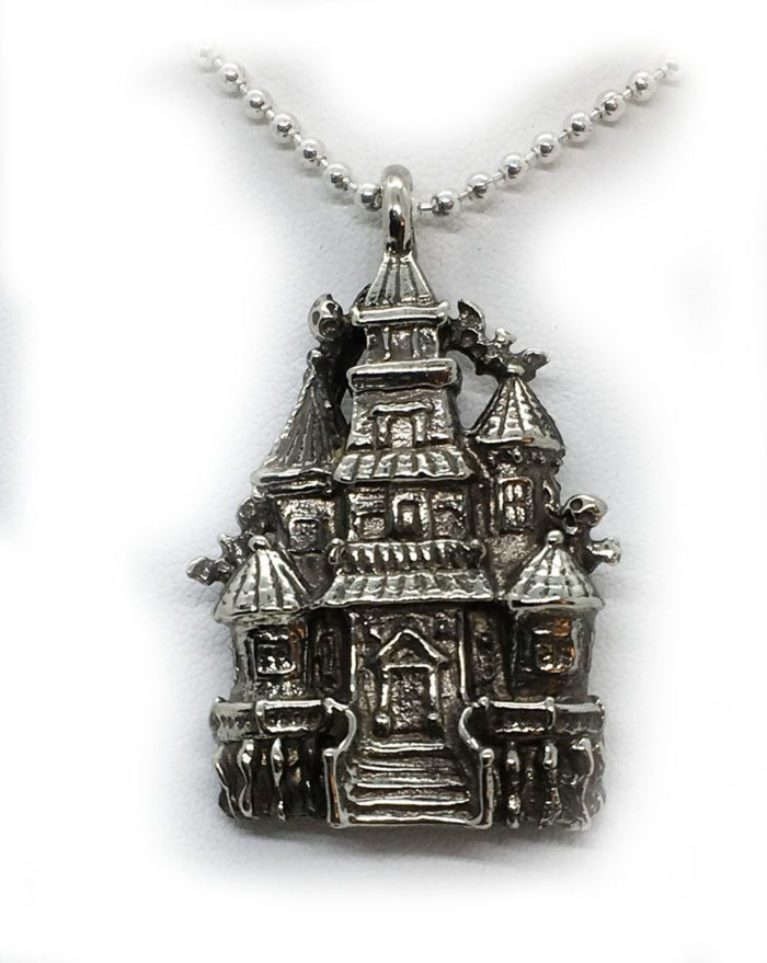 Halloween Haunted House Sterling Silver Pendant 5