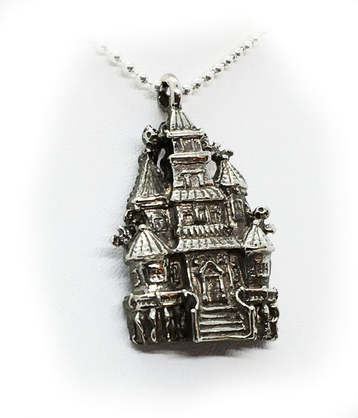 Halloween Haunted House Sterling Silver Pendant 2