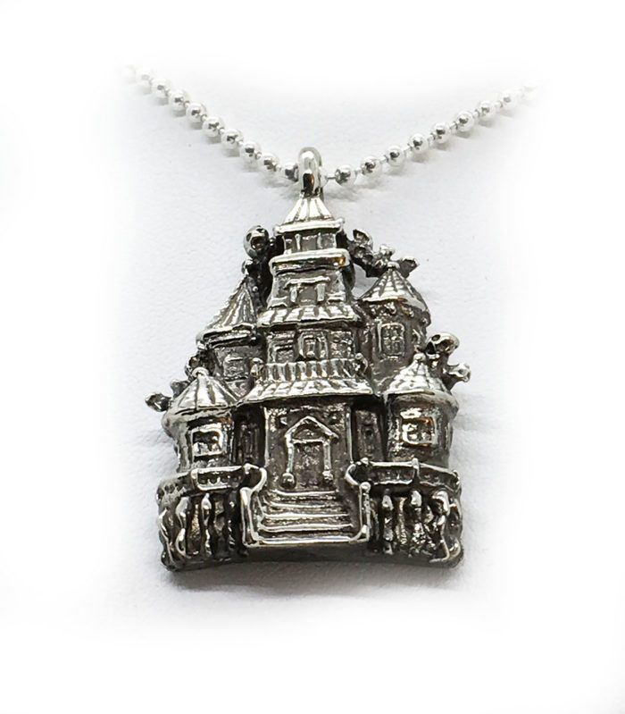 Halloween Haunted House Sterling Silver Pendant 4