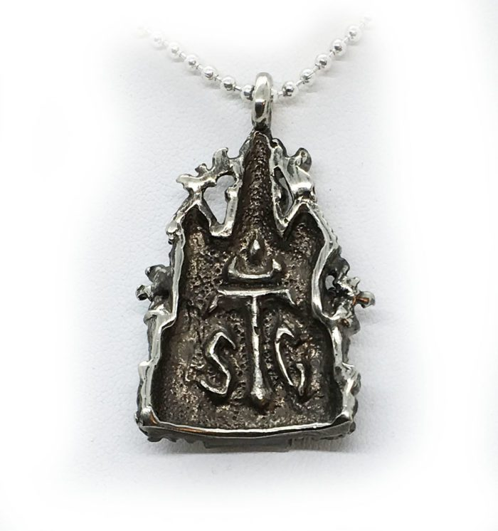 Halloween Haunted House Sterling Silver Pendant 3