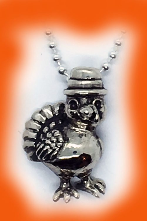 Thanksgiving Baby Turkey Silver Pendant