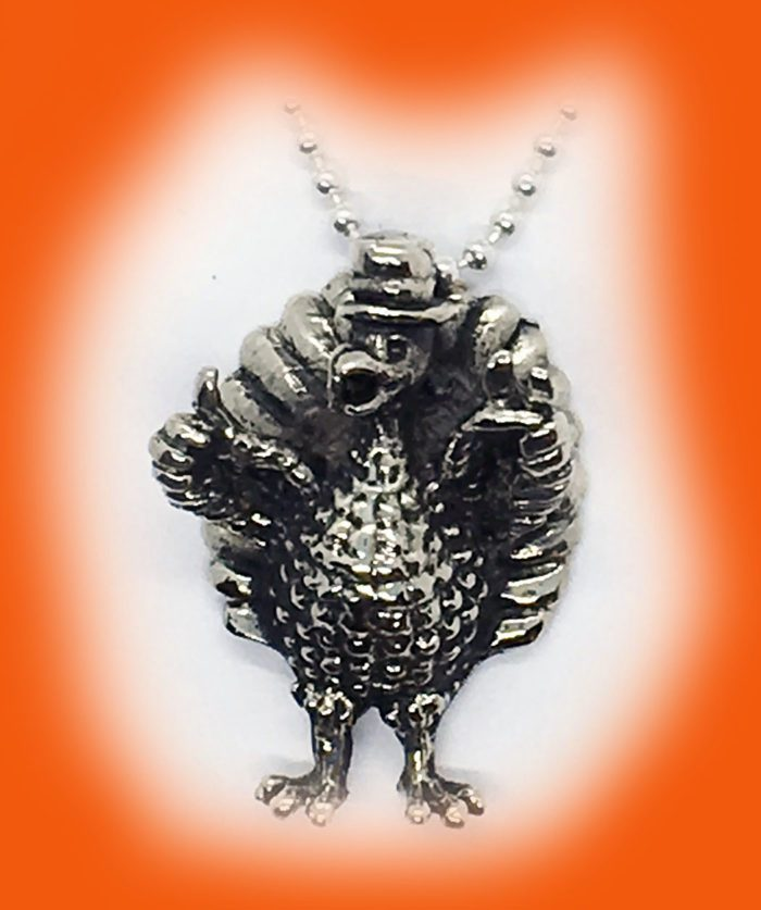 Thanksgiving Happy Turkey Silver Pendant