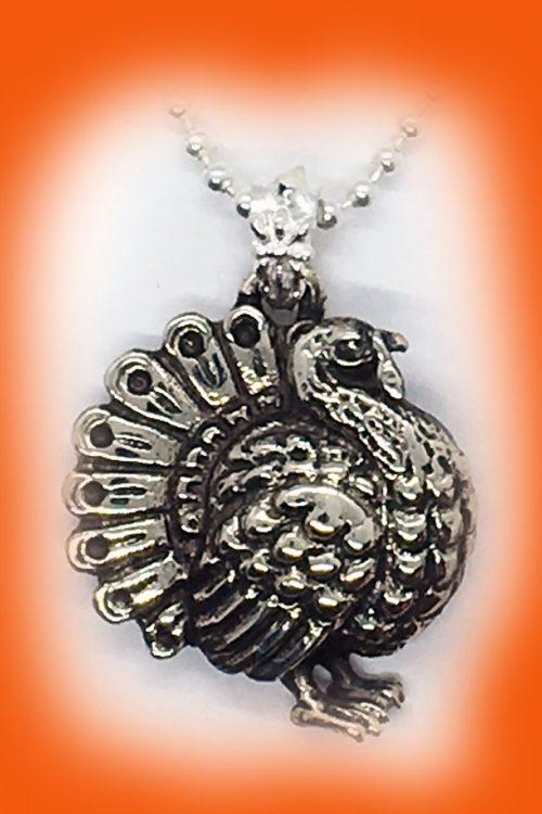 Thanksgiving Turkey Sterling Silver Pendant