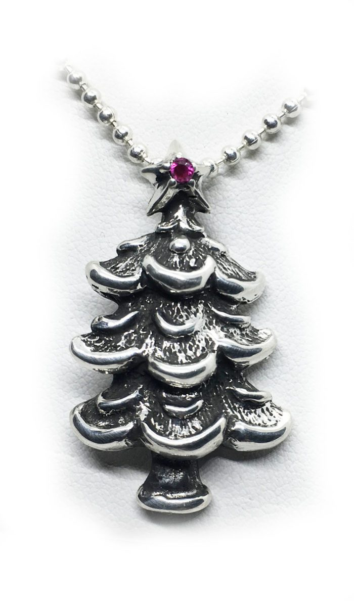 Christmas Tree with Ruby Star Silver Pendant
