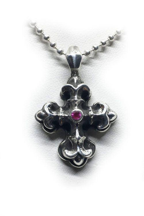 Gothic Cross with Ruby Stone Silver Pendant