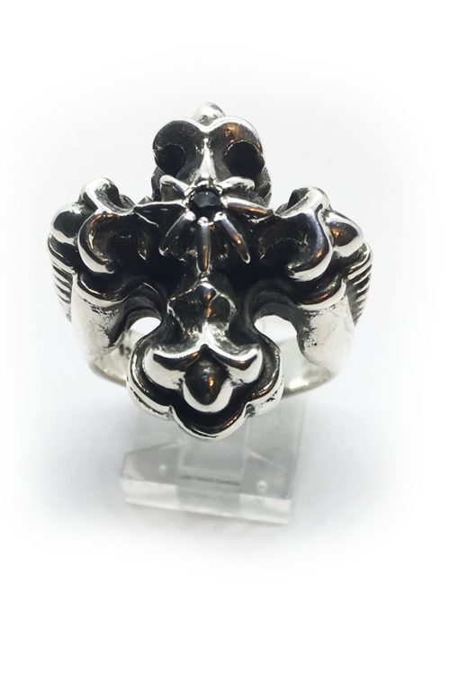 Cross with Eight Star and Onyx Silver Ring