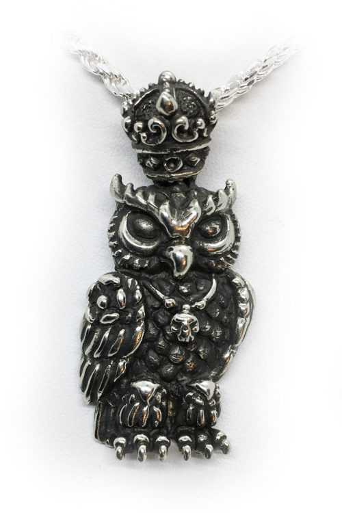 King of Owl Silver Pendant