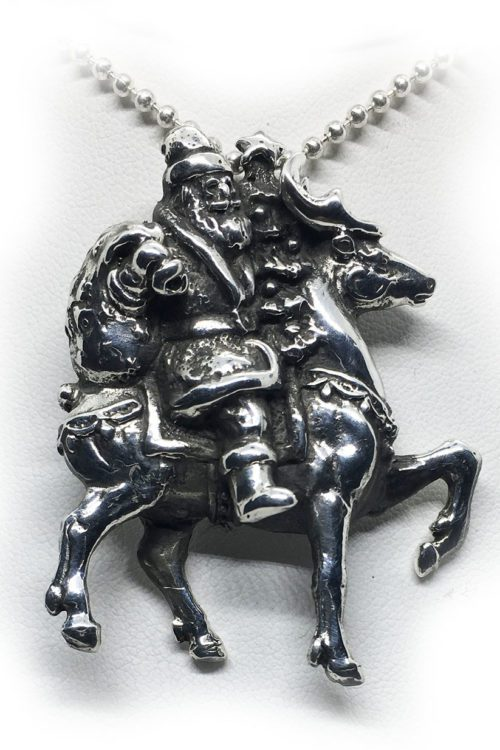 Santa Claus with Reindeer Silver Pendant
