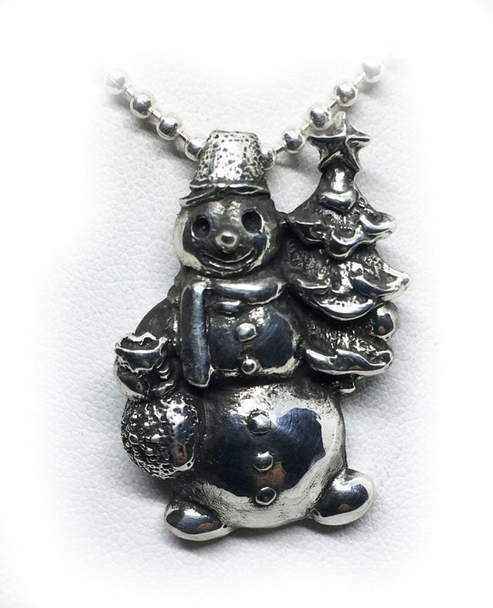 Snowman Sterling Silver Pendant