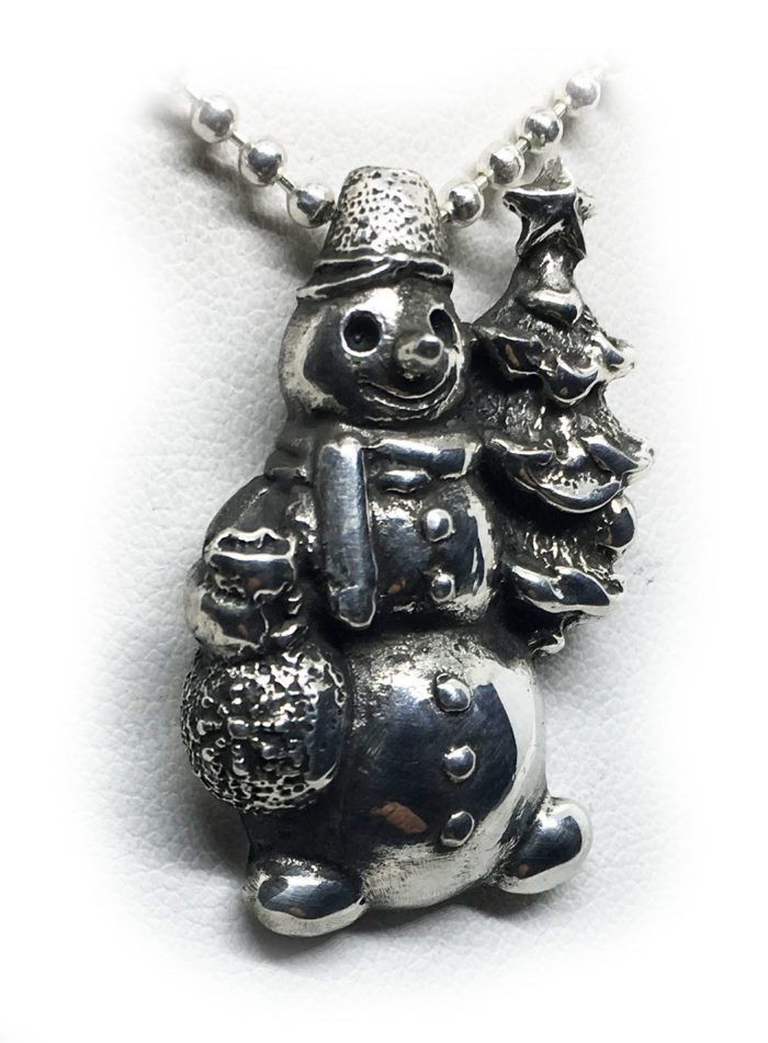 Snowman Sterling Silver Pendant 2