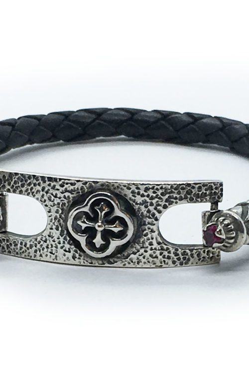 Silver Cross Leather Bracelet with Ruby Stones