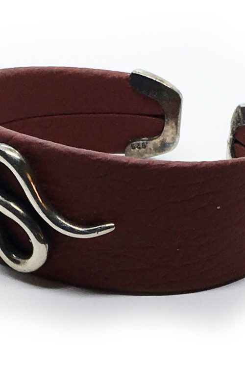 Red Leather Bracelet with Sterling Silver