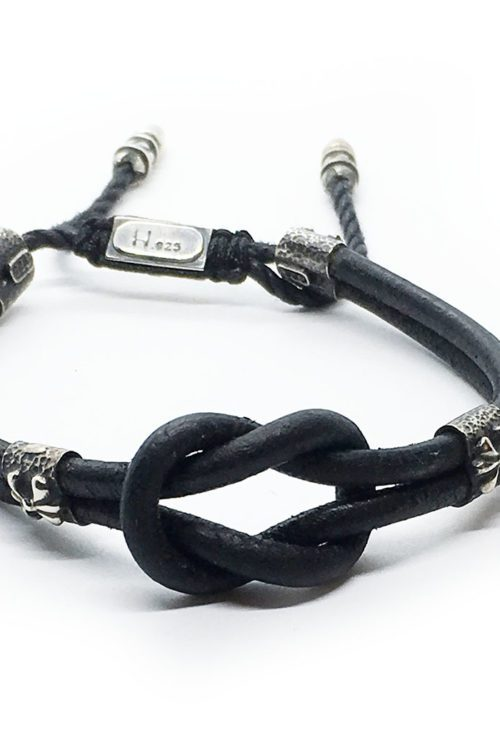 Tied Leather Bracelet with Sterling Silver
