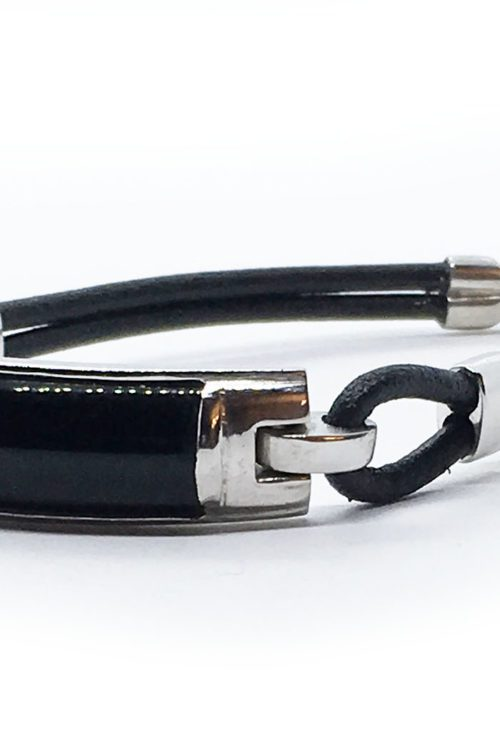 Sterling Silver Leather Bracelet with Onyx Stone