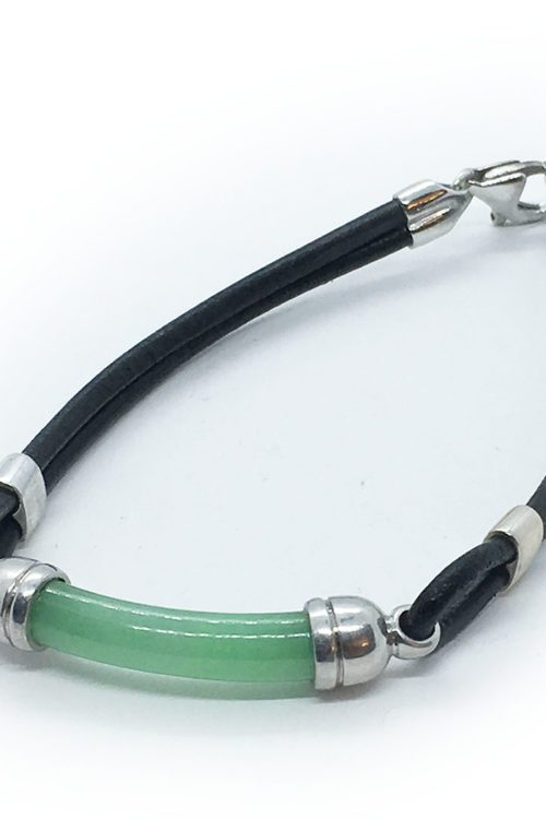 Leather Bracelet with Stone and Silver