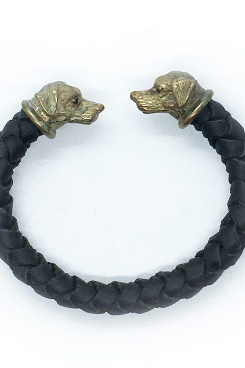 Sterling Silver Dog Leather Bracelet