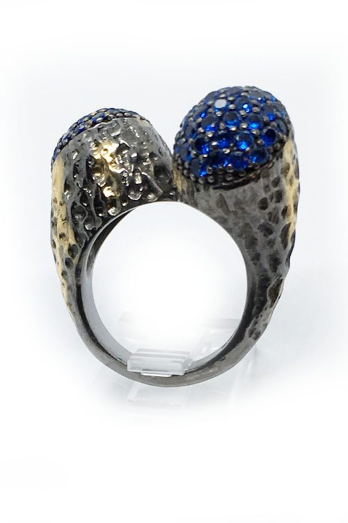 Blue Korund Sterling Silver Ring