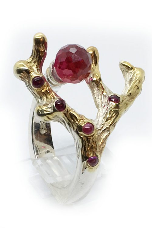 Swarovski Stone Sterling Silver with Gold Plating Ring