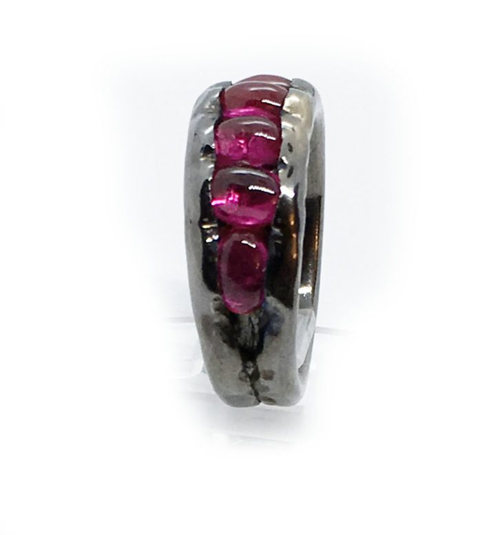 Korund Stone Sterling Silver with Rhodium Plating Ring 2