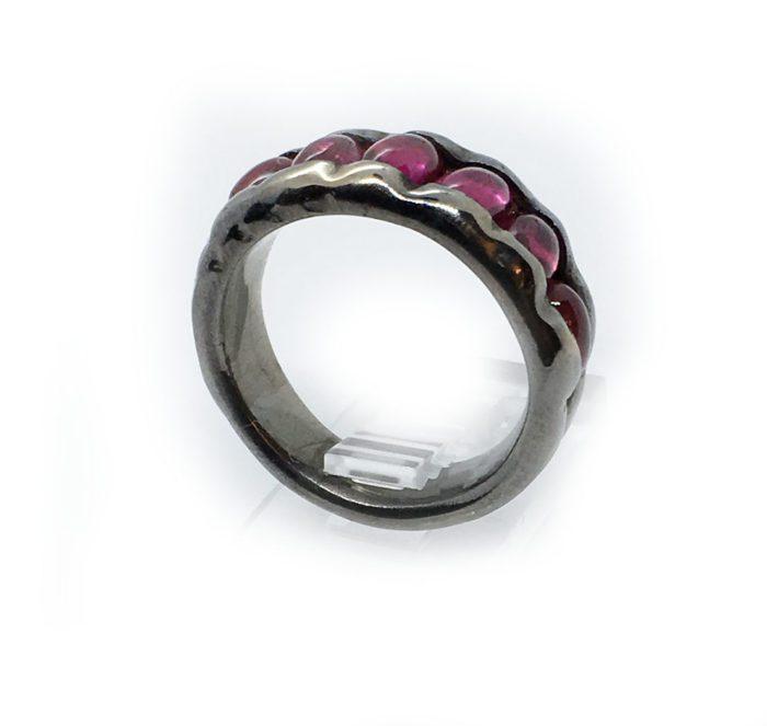 Korund Stone Sterling Silver with Rhodium Plating Ring 3