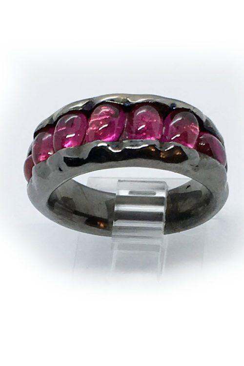Korund Stone Sterling Silver with Rhodium Plating Ring