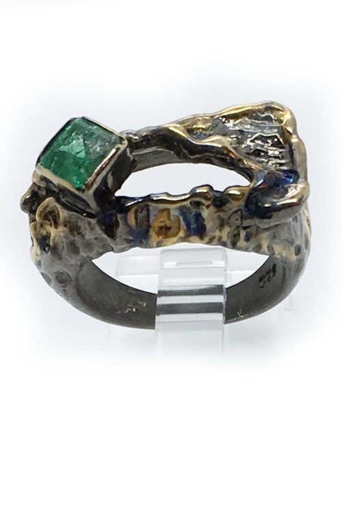 Emerald Stone Sterling Silver with Rhodium and Gold Plating Ring