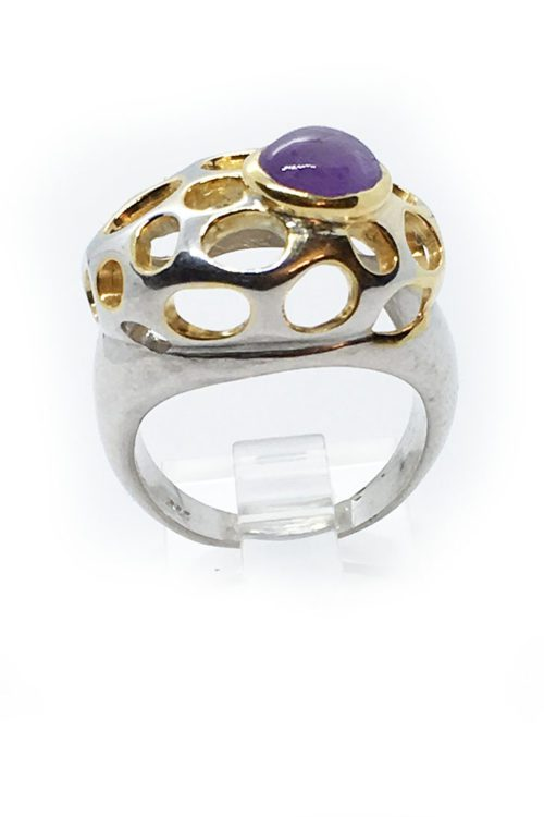 Amethyst Stone with Sterling Silver with Black Rhodium and Gold Plating Ring