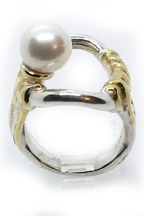 Natural Pearl with Sterling Silver with Black Rhodium and Gold Plating Ring
