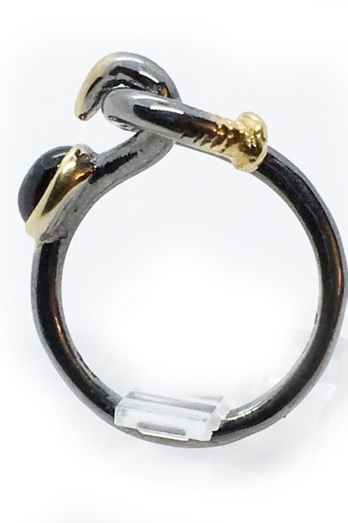Garnet Sterling Silver with Black Rhodium and Gold Plating Ring