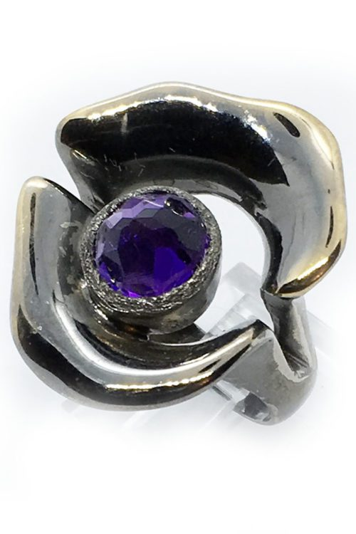 Flower Amethyst Sterling Silver with Black Rhodium and Gold Plating Ring
