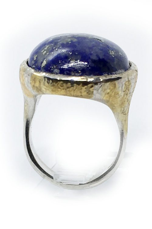 Lazurite 925 Sterling Silver Black Rhodium and Gold Plating Ring